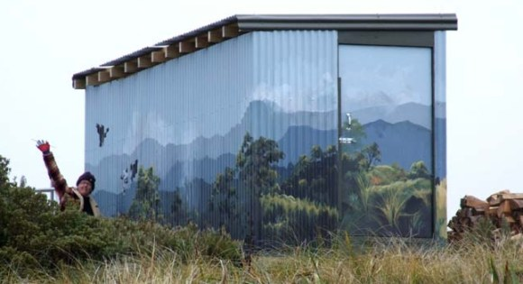 The toilet block at Rangiwahia Hut painted by Julie Oliver.
