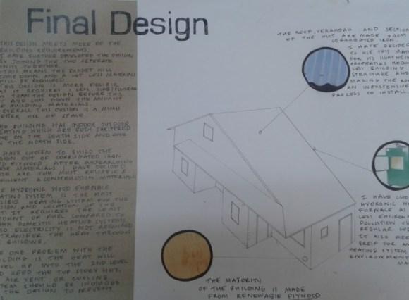 A final hut design poster.