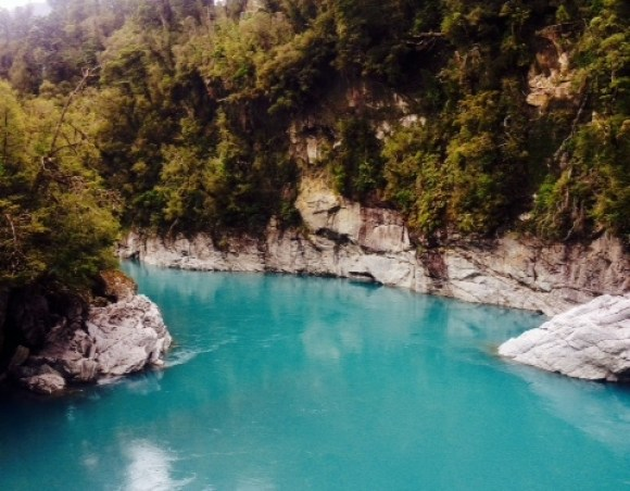 The gorgeous blue water of the Hokitika Gorge.