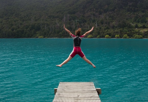 Jumping into Lake Wakatipu.