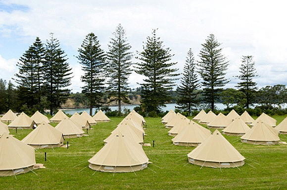 The spectacular glamping site on Motuihe Island.