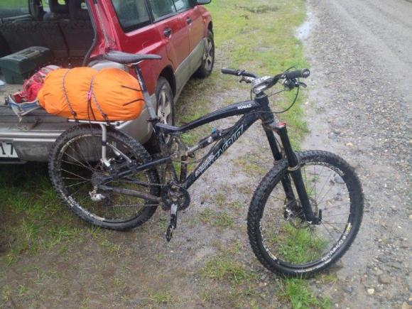 Kris Ramm's bike ready to take on the Heaphy Track.