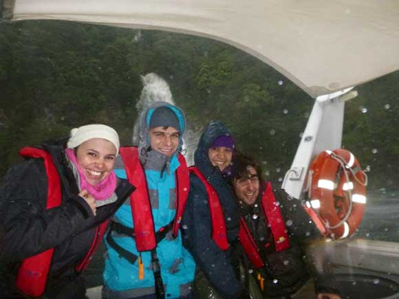 Embracing the weather in Doubtful Sound.