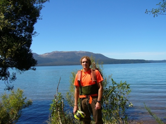 James standing in front of Lake Tarawera.