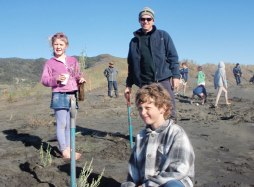 Andrew Styche at the children's Beachcare Port Waikato planting day