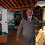 Gary Cocker turning out the lights at the end of the day in the Rakiura National Park Visitor Centre