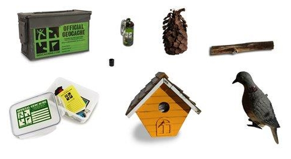 Examples of geocaches that can be discovered including, containers, birdhouses and status.