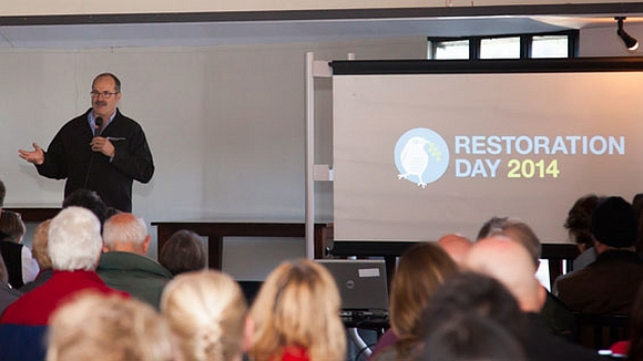 DOC Director-General Lou Sanson speaking at Restoration Day.