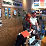 Wendy Challis and Don Herron at the Wellington Visitor Centre.