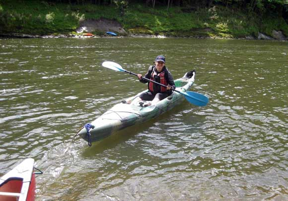 Arna in a kayak on the Whanganui River.