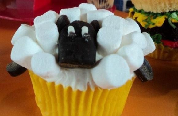 Cupcake shaped like a sheep.