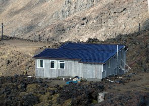 Tararua Hut after the roof was painted.