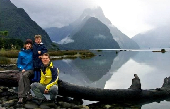 Caroline with her family at Milford Sound.