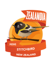 Angeline's favourite 'pin' - the hihi / stitchbird.