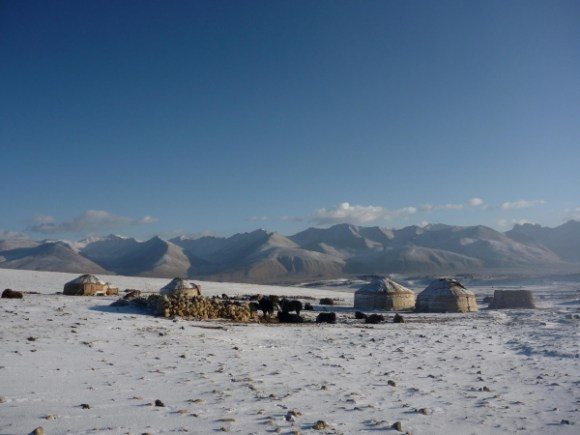 Kirghiz camp in the Afghan Pamir, Tajikistan in the background.