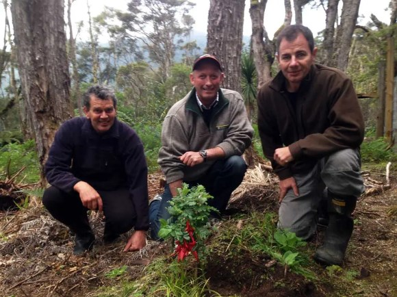 Reg Kemper (centre) with trustees of Forest Lifeforce Restoration Trust  – Pete Shaw and Simon Hall.