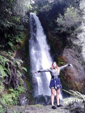 Loving waterfalls! Brahminy On a day trip to the Buried Village of Te Wairoa, Rotorua