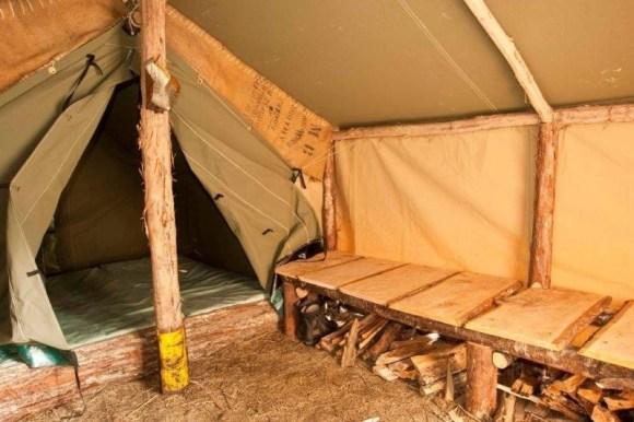 Inside a restored tent.