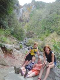 Nina and her children at Waitonga Falls.