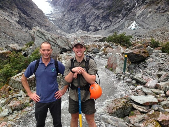 Wayne Costello, Conservation Services Manager and Ranger Sean Hobson at Franz Josef Glacier.