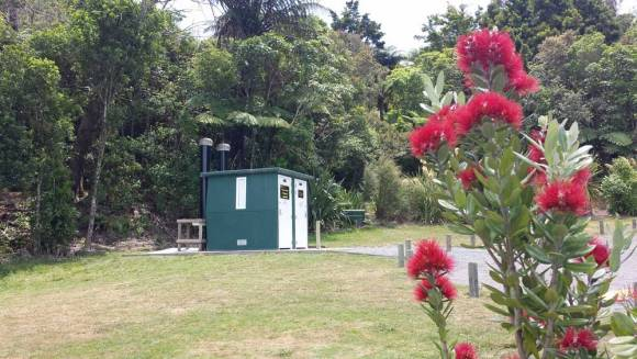 The toilets. Lake Okareka campsite, Rotorua. Photo: Elizabeth Marenzi.