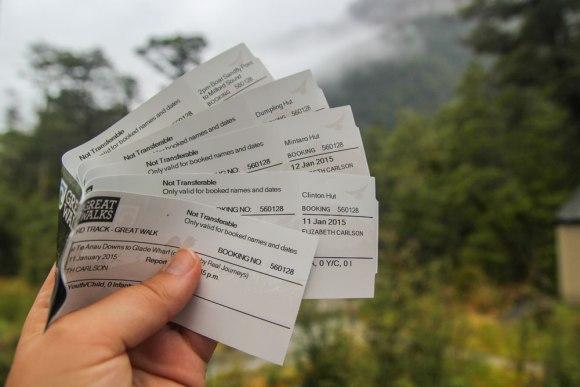 Great Walk tickets.  Photo: Elizabeth Carlson ©