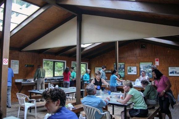 Inside Dumpling Hut, Milford Track. Photo: Elizabeth Carlson ©