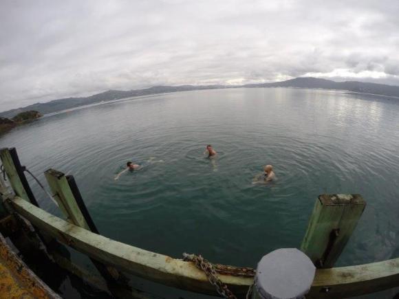 Interns taking a swim.