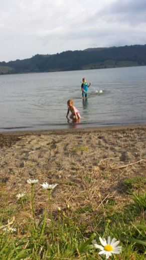 Kids playing in the water.