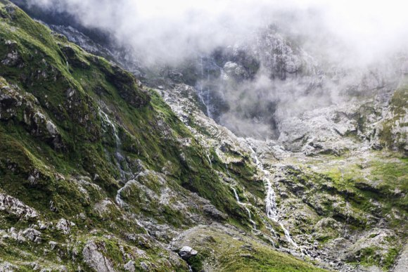 Waterfalls, Milford Track. Photo: Elizabeth Carlson ©