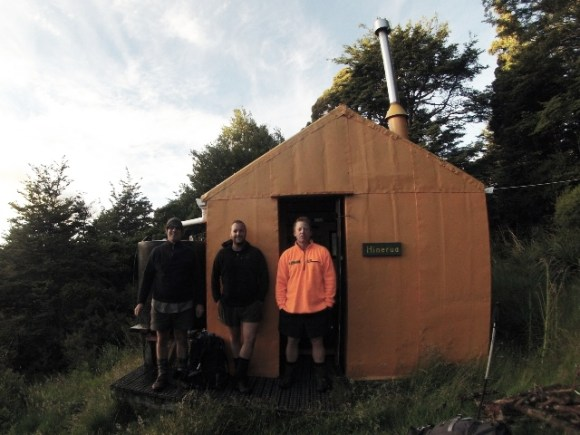 James with Andrew Mercer and Craig Harrison at Hinerua Hut.