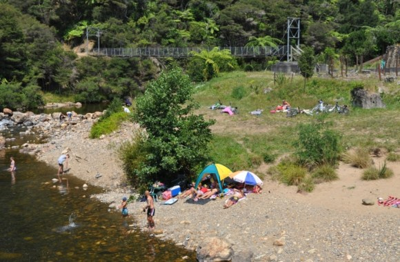 Visitors to Karangahake Gorge enjoying a swim. Photo: Rebecca Nuttall.