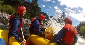 Sarah and her dad rafting. Photo: Sarah Ridsdale.