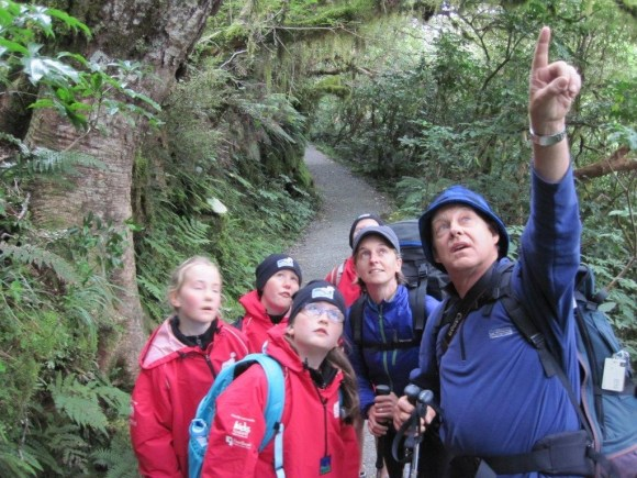 Ruud Kleinpaste and students on the Routeburn Track. Photo: Shelley Hersey.