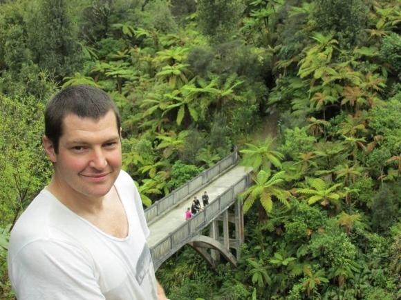 Chris Rendall at the Bridge to Nowhere on the Whanganui River.