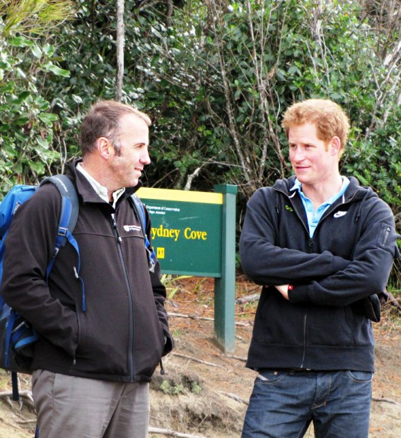 Brent Beaven and Prince Harry at Sydney Cove. Photo: Andrea Crawford | DOC.