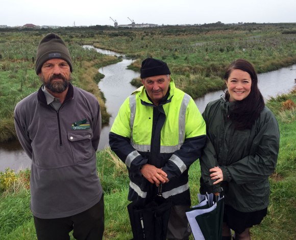 Greymouth Services Ranger Henk Stengs with the chair of Cobden Aromahana Sanctuary Inc Rob Harrison and Quecha Horning from Grey District Council