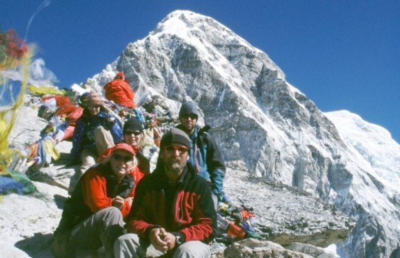 Kerry Weston alongside others in the Himalayas.