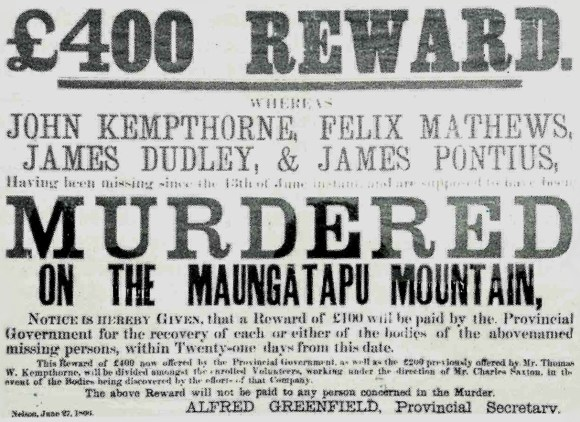 Maungatapu murders reward poster.