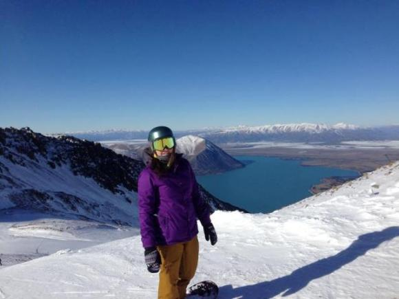 Ann at the Ohau snowfields.