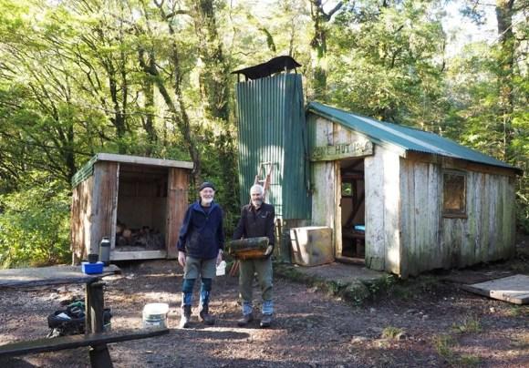 Tararua Tramping Club members Colin Cook and Ken Fraser at Cone Hut.