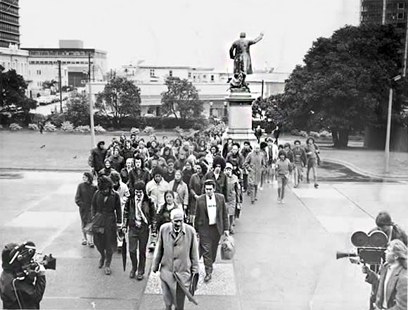 Māori language petition being delivered to Parliament on 14 September 1972. Photo: Fairfax Sunday Newspapers.