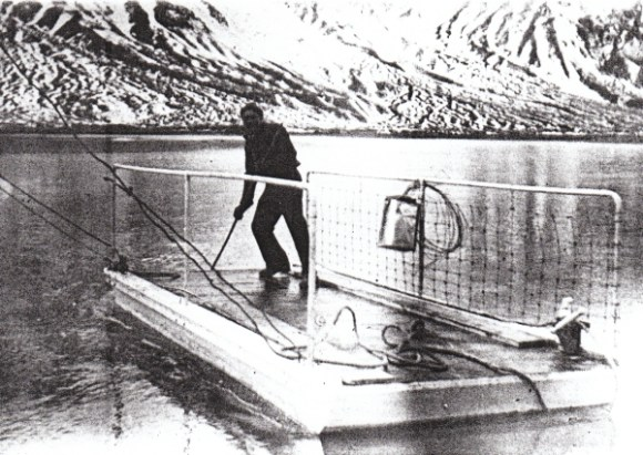 The punt on the Rangitata River. Photo: Geraldine Museum 1829.