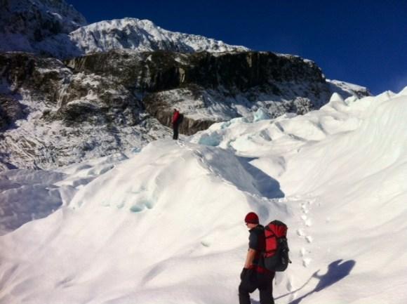 Tawny Hardy exploring Fox Glacier.