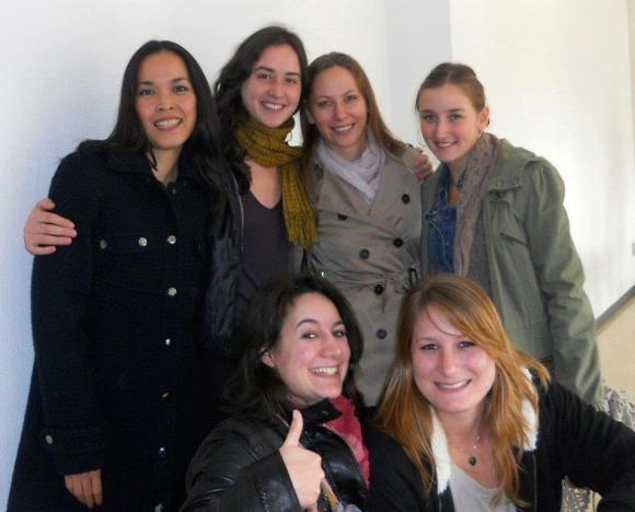 Alice with other students in her Italian language class.