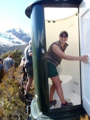 Installing the toilet at Key Summit.