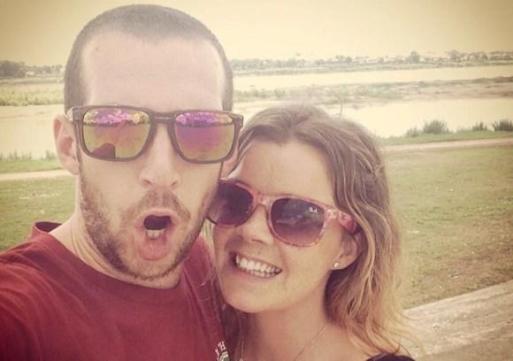 Amanda and Chris taking a 'selfie' in Laos.