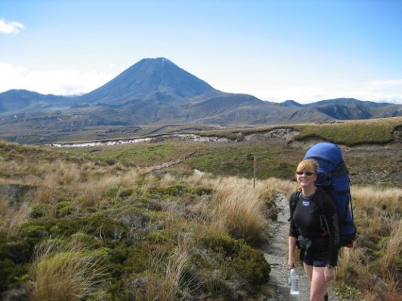 Alicia Warren tramping in Tongariro National Park.