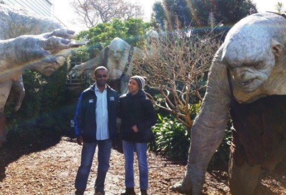 Daniel and his partner visiting the Weta Cave and workshop.