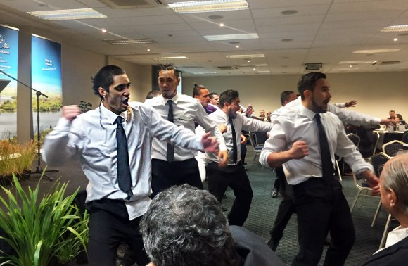 The haka delivered by rangers at the 25th anniversary of Ngā Whenua Rāhui.